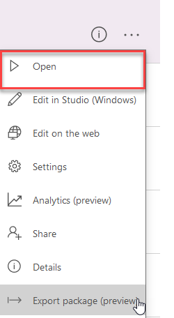 PowerApps ellipses menu