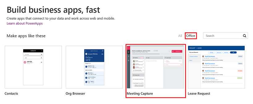 new office templates meeting capture quicktask and company pulse
